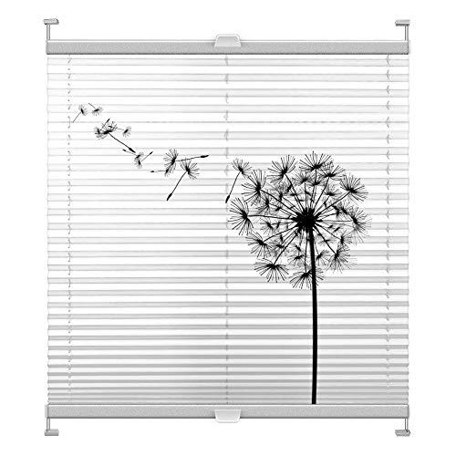 Plissee mit Motiv 6001 nach Maß Schrauben in Glasleisten Klemmen auf Fensterrahmen Digitaldruck Sichtschutz lichtdurchlässig fest verspanntes Jalousie Rollo Fenster innen Breite 51-74 Höhe 101-124 cm
