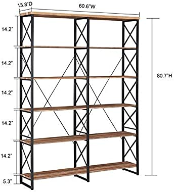 """O&K Furniture 80.7"""" Double Wide 6-Shelf Bookcase, Industrial Large Open Metal Bookcases Furniture, Etagere Bookshelf for"""
