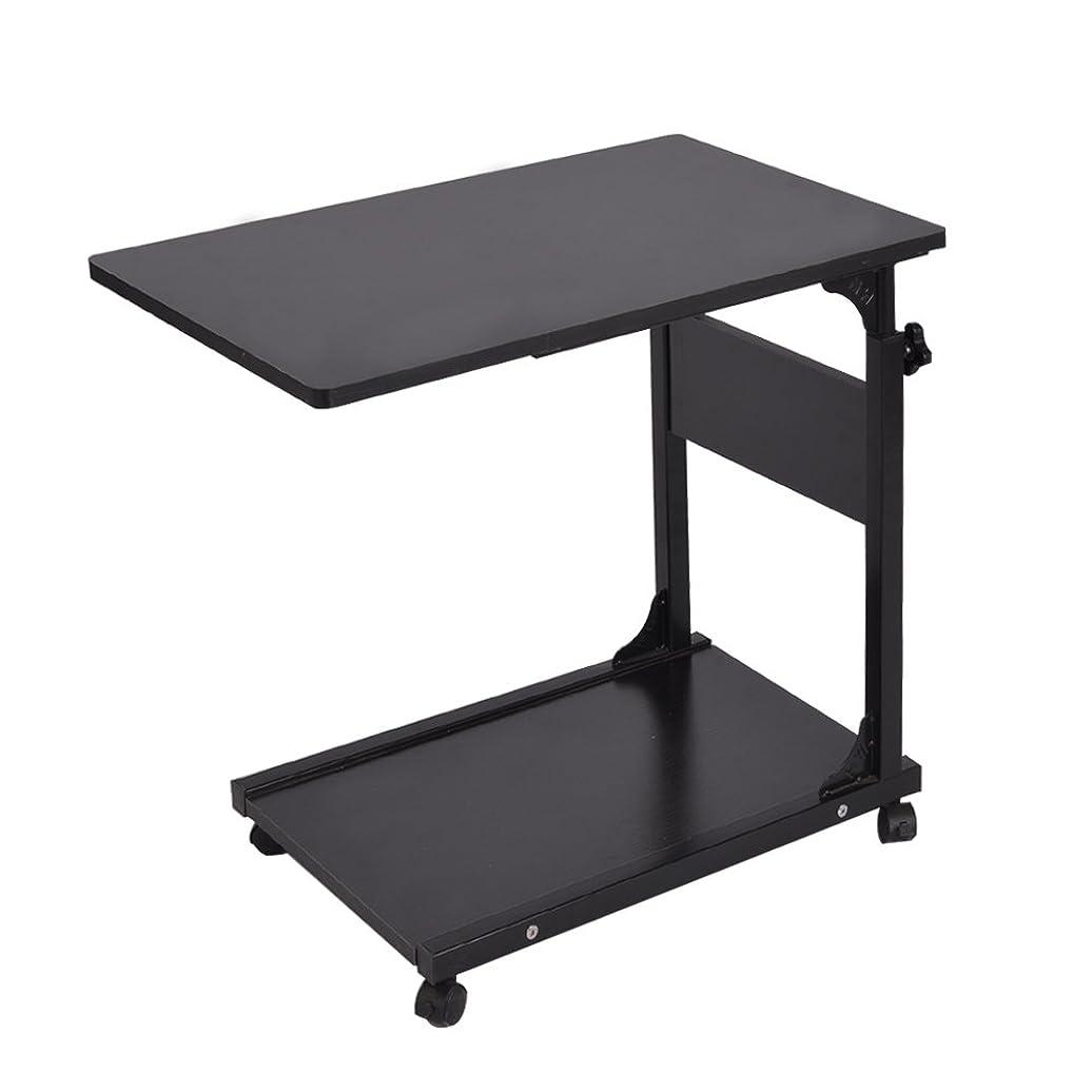 オークランド武器スマッシュSoges 高さ調節 昇降式サイドテーブル サイドテーブル ベッドサイドテーブル ノートパソコンスタンド 可移動デスク キャスター付きデスク 収納棚 付き ナイトテーブル ブラック