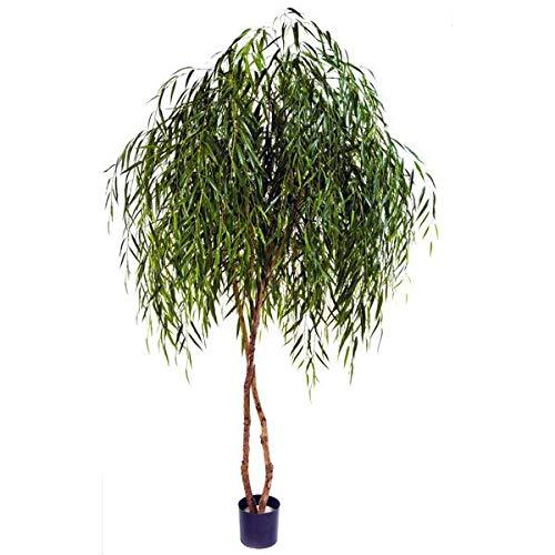 artplants.de Albero di salice piangente Artificiale, 240cm - Pianta per Esterni/Albero Ornamentale