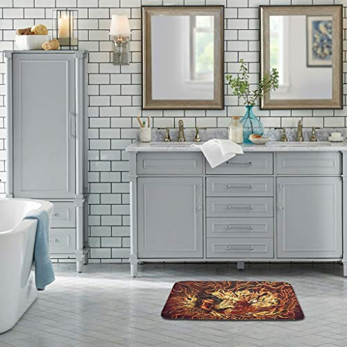 Zhcon Tiger Lion - Felpudo de Goma Lavable, para Interior y Exterior, decoración del hogar, para baño, Garaje, Lana Coral, Blanco, 18x30 Inch
