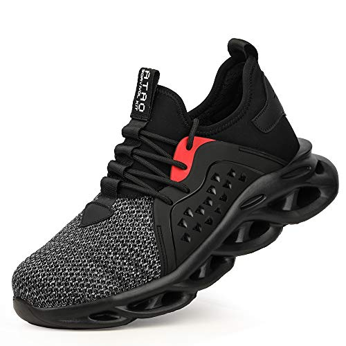 GLANOUDUN Steel Toe Shoes for Men Work Safety Shoes Lightweight Breathable Industrial & Construction Sneakers