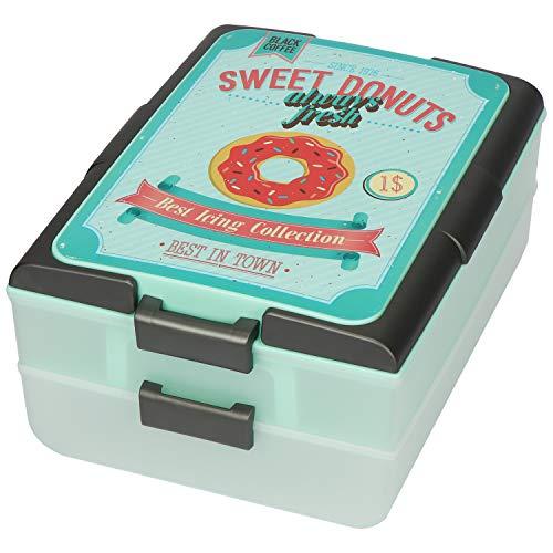 COM-FOUR® Partycontainer im Retro-Design - Transport-Box mit 2 Etagen und Hebeeinsatz - Kuchenbehälter und Lebensmittelbox (01 Stück - SWEET V2)