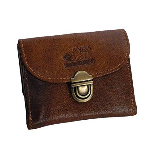 Branco Leder - kleine und sehr feine Mini Leder Damen Geldbörse, Portemonnaie, Ladys Wallet mit Kartenfächern verfügbar - präsentiert von ZMOKA® (Tan)