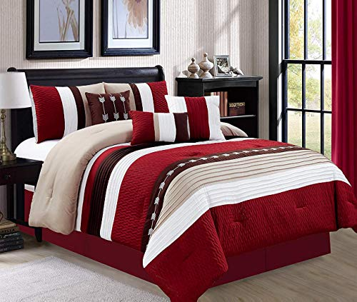 Sage, Queen 7 Piece Oversize Stripe Comforter Set Bedding with Accent Pillows
