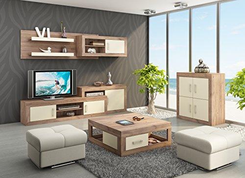 """Wohnzimmer Möbel Satz, TV Wohnwand \""""VERIN 2\"""" Große TV Bank, Wandhängend Regal plus 4T Kommode und Kaffetisch. Craft Tobaco/Cream."""