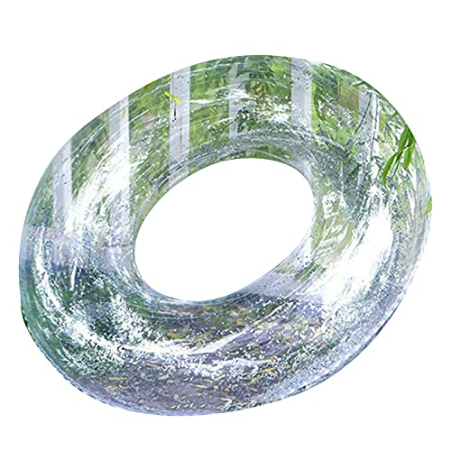 Xiadong Anillo de natación transparente, con pluma/lentejuelas inflable tubo de natación balsa juguetes para agua verano 82 cm de diámetro