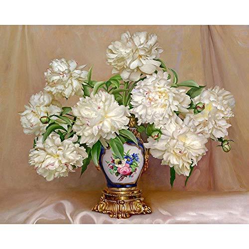 Jkykpp DIY schilderij op cijfers bloemen afbeelding kleur nul basis handgeschilderd olieverfschilderij Home Decor uniek geschenk 40 * 50cm