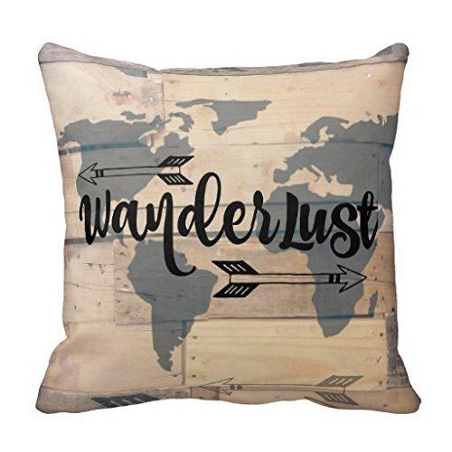 Atemperament HD112X (#) Wanderlust rustico legno da viaggio 45 x 40 cm in cotone lino decorativo cuscino federa