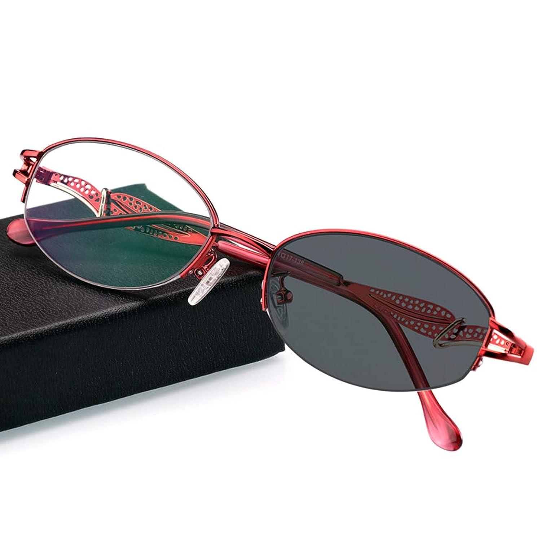 変色老眼鏡、屋外の日よけメガネサングラス抗放射線紫外線、春の蝶番のステンレス鋼材料日焼け止め、女性用