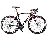 SAVADECK Herd 6.0 700C Bici da Strada T800 Fibra di Carbonio con 22 velocità Shimano 105 R7000 Continental Ultra Sport II 25C Pneumatico e Fizik Sella Leggera 18.3 lbs (54cm, Nero Rosso)