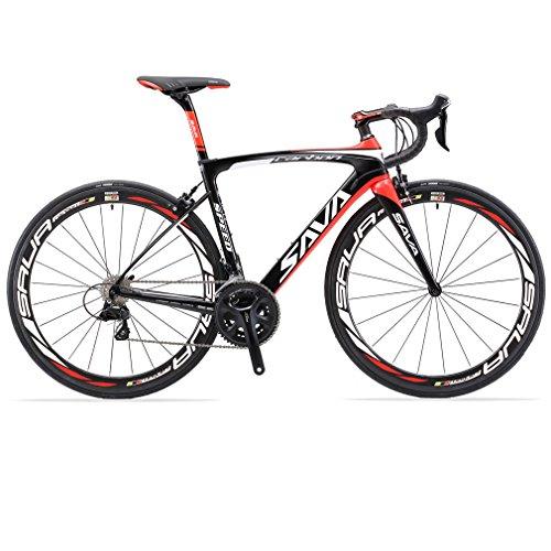 SAVADECK Carbon Rennrad, Herd 6.0 T800 Kohlefaser 700C Rennrad Shimano 105 R7000 Groupset 22 Geschwindigkeit Kohlenstoff Radsatz Sattelstütze Gabel Ultra-Licht Fahrrad (Schwarz Rot, 54cm)