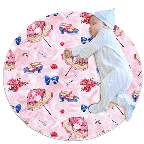 chuangxin Vintage Paraplu, Baby Ronde Play Pad Crawling Mat Crawl Kussen Air-Conditioned Tapijt voor Kinderen Peuters Slaapkamer, 27.6x27.6IN