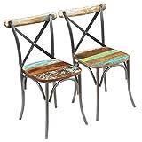 vidaXL Madera Reciclada Maciza 2X Sillas de Salón Comedor Vintage Multicolor