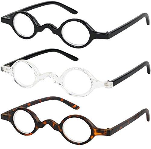 Reading Glasses Set of 3 Spring Hinge Professor Readers for Men and Women Quality Fashion Glasses for Reading +1