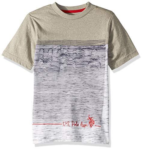 U.S. Polo Assn. Boys' Toddler Short Sleeve Graphic Print T-Shirt, Marled Light Grey, 2T
