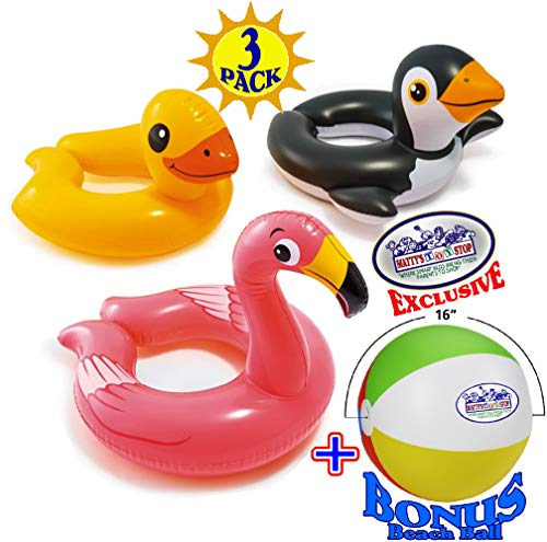 Intex Animal Split Ring Pool Floats Duck, Flamingo & Penguin Gift Set Bundle with Bonus Matty's Toy Stop 16' Beach Ball - 3 Pack