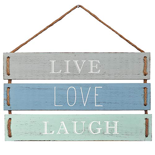 """Barnyard Designs Live Love Laugh Quote Wall Decor, Decorative Wood Plank Hanging Sign 17"""" x 9.75"""