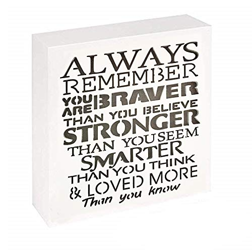 UCUDI Always Remember You are Braver Than You Believe – 6X 6 Inch Inspirational Gifts Positive Wall Plaque Saying Quotes for Birthday – Gifts for Girl Sister Mom Women