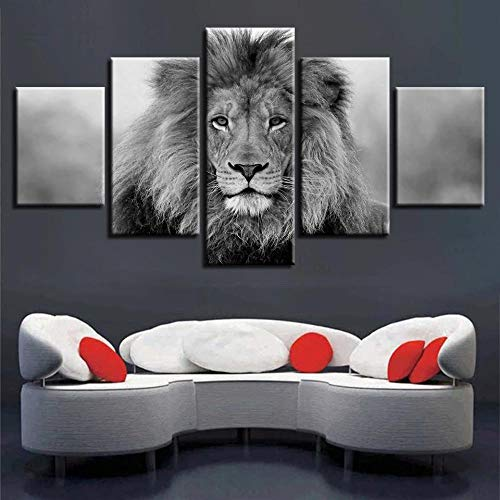 YOPLLL 5 Panel Wall Art Pictures Lion Poster Decor Black And White Print On Canvas The Picture For Home Modern Decoration Piece Stretched By Wooden Frame Ready To Hang(Unframed)