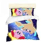 ZHYINA Juego de ropa de cama infantil con dibujos animados de Kirby, juego de cama 3D, funda nórdica de 135 x 200 cm y funda de almohada de 80 x 80 cm (A6,155 x 220 cm + 80 x 80 cm x 2)