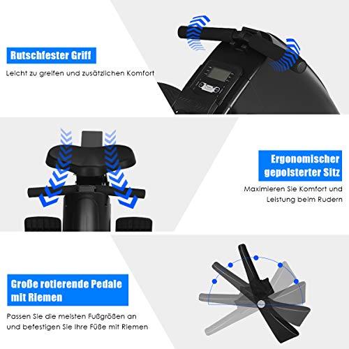 GOPLUS Rudergerät mit Magnetbremssystem, Rudermaschine Klappbar, Ruderzugmaschine mit 10 Widerstandsstufen, Heimtrainer, Nutzergewicht bis 120 kg, Leise, Fitnessgerät für das Ausdauertraining zu Hause - 5
