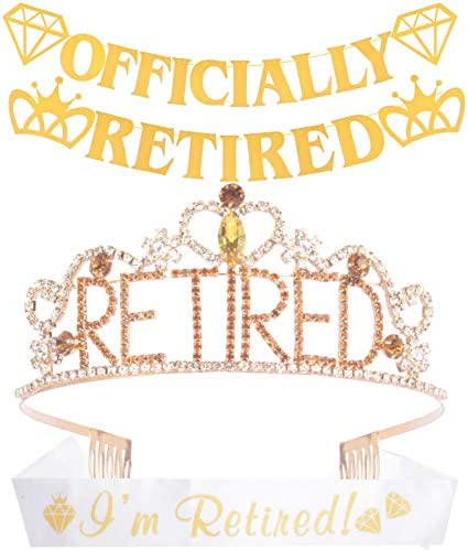 Officially Retirement Party Supplies Retired Tiara Crown I m Retired Sash Officially Retired product image
