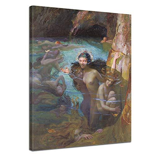 Wandbild Gaston Bussière Seenymphen in Einer Grotte - 50x70cm hochkant - Alte Meister Berühmte Gemälde Leinwandbild Kunstdruck Bild auf Leinwand