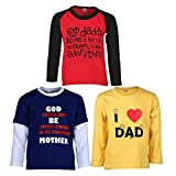 GOODWAY Boy's Full Sleeve Colour T-Shirts Mom & Dad Theme-3Pack of 3