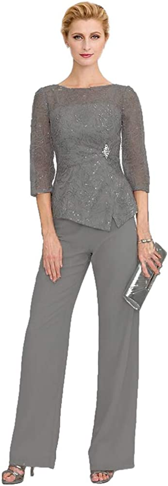 Mother of The Bride Lace Appliqued Pant Suits Long Sleeves Mother of Pantsuits Wedding Party