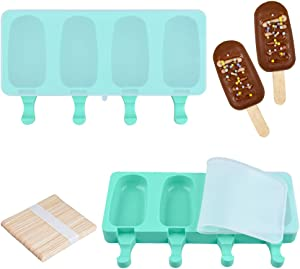 Fimary Large Popsicle Molds Set with Lid (Upgrade), 4 Cavities Homemade DIY Ice Pop Molds Oval, Food Grade Silicone Molds for Kids & Ault, with 50 Wooden Sticks (2, Mint Green)