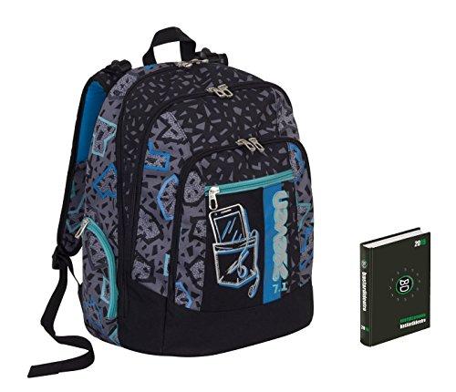 Zaino scuola advanced SEVEN + DIARIO - SHIFT - INNOVATIVO sistema di regolazione spallacci in altezza - Nero Azzurro - 30 LT - inserti rifrangenti
