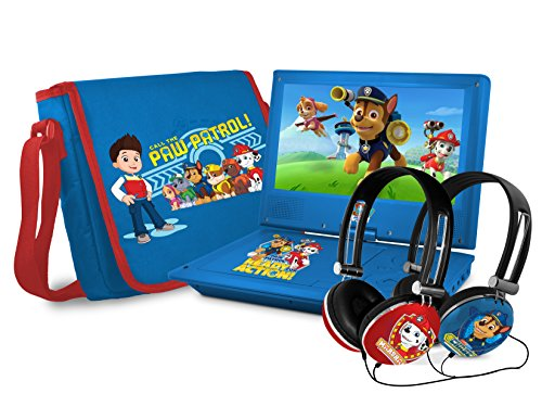 Nickelodeons Paw Patrol Theme Portable DVD Player with 9-Inch Swivel Screen, Travel Bag and 2 Sets of Headphones, Blue (NK9388PW)