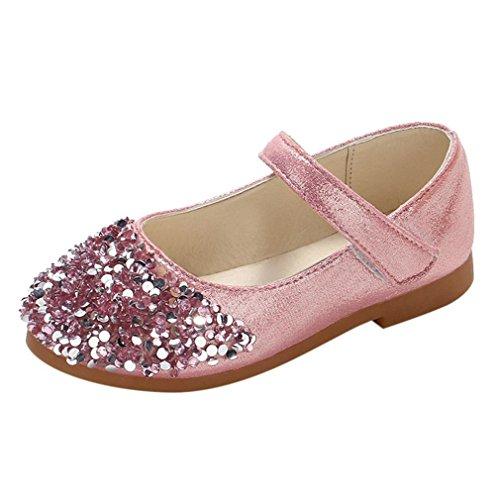 ELECTRI Enfants garçons et Filles Enfants Strass Automne Strass Princesse Chaussures Petites Chaussures Chaussures Simples (28 EU, Rose)
