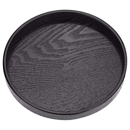 CXD Rond dienblad, ronde vorm vaste thee koffie dienblad van hout voor het serveren van water, thee, koffie, sap, cake, brood, fruit enz. zwart