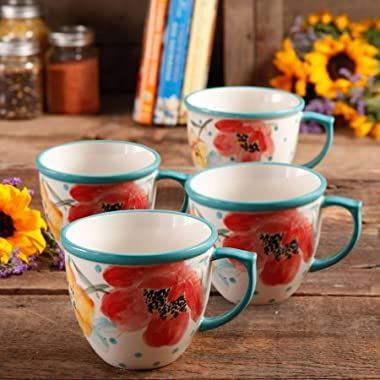 The Pioneer Women Flea Market Vintage Bloom 16 oz Stoneware Coffee Cup, Set of 4