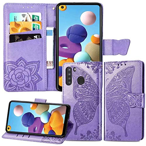 Ropigo for Samsung Galaxy A21 Wallet Case (Not Fit A20) | Embossed Butterfly | Magnetic Closure | Kickstand | Wrist Strap | Card Slots | Premium Leather | Compatible with Galaxy A21 Lavender
