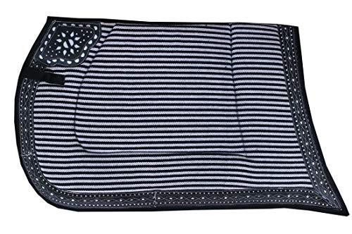Reitsport Amesbichler AMKA Spanische Schabracke Satteldecke Repukhara Barockschabracke, schwarz/weiß