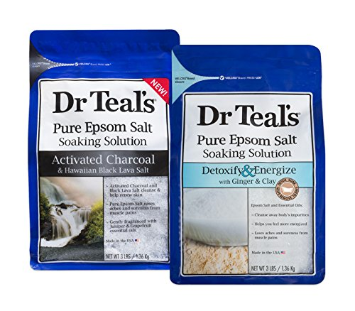 Dr Teal's Epsom Salt Soaking Solution Detoxify & Energize and Activated Charcoal, 2 Count - 6lbs Total