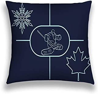 zexuandiy Throw Pillows Stylish Chic Pillowcases Zippered 18X18 Inch ice Hockey Background Image Relative to Canada Goalie Snowflake Maple Leaf Simple