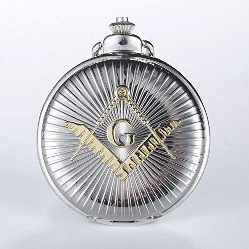 LEYUANA Grabado de Plata Free-Mason Theme Pocket Watch Golde