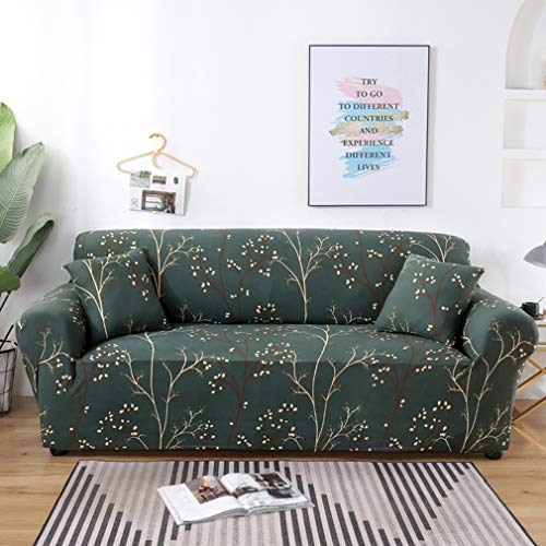 MaiuFun Pattern Sofa Slipcovers Printed Stretch Sofa Cover, 2 Pillowcases Included, 4 Seat Cushion Couch Furniture Pet Protector Anti-Slip Stylish Spandex Cover(Elegance, Sofa-4 Seater)