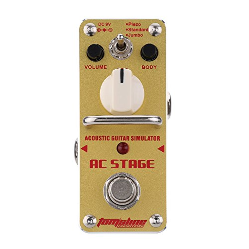 ammoon AC Stage Acoustic Guitar Simulator Mini Single Electric Guitar Effect Pedal with True Bypass AROMA AAS-3