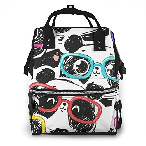 Large Capacity Diaper Bag Backpack, Anti-Water Maternity Nursing Rucksack Storage Bag with Insulated Pockets, Pandas in Hipster Glasses Best Travel Bag Tote