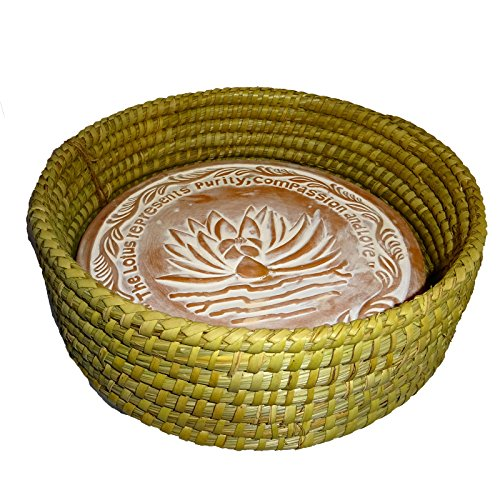 Warming Bread Basket Lotus Warmer Tile Stone Hand Woven For Rolls Appetizers by The Crabby Nook (11 Inch Natural)