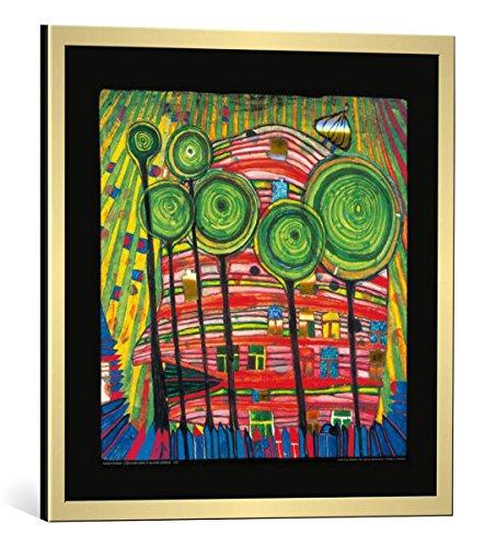 kunst für alle Bild mit Bilder-Rahmen: Friedensreich Hundertwasser Dingsdas wachsen in geliebten Gärten - dekorativer Kunstdruck, hochwertig gerahmt, 48x48 cm, Gold gebürstet
