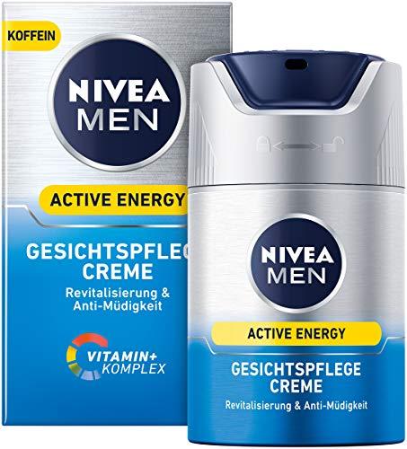 Nivea Men Active Energy gezichtscrème in 2-delige verpakking (2 x 50 ml), verfrissende gezichtscrème voor mannen, vochtinbrengende crème tegen tekenen van vermoeidheid