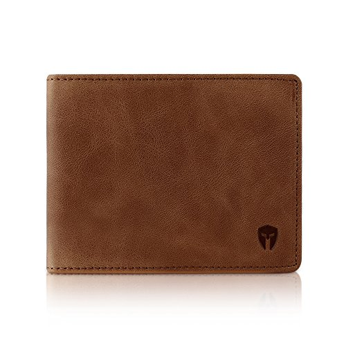 Bryker Hyde 2 ID Window RFID Wallet for Men, Bifold Top Flip, Extra Capacity Travel Wallet (Brown - Distressed Leather, Medium)