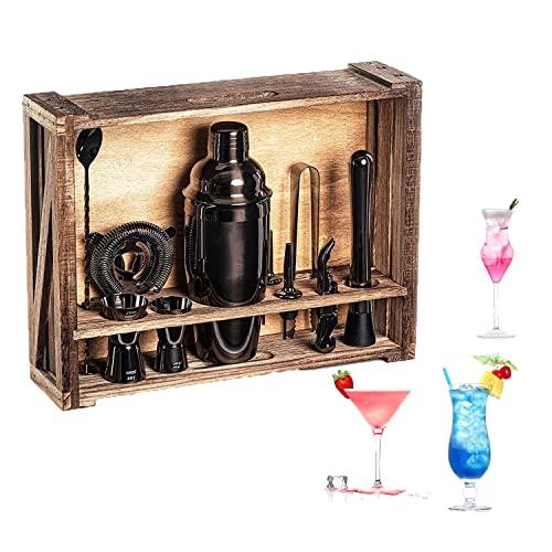 Cocktail Shaker Set, 22 Pezzi Utensili Bar Cocktail Set, Kit Attrezzatura Bar in Acciaio Inox, Set Cocktail Professionale Completo con Supporto Adatto a Famiglie, Bar, Festa (black)