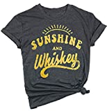 NANYUAYA Sunshine and Whiskey T Shirt Women Funny Letter Print Drinking Tops Tees